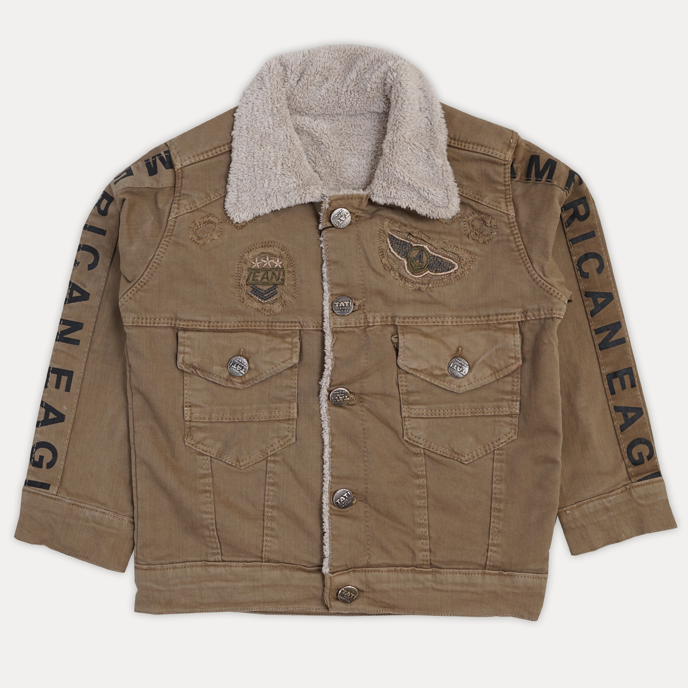 Красивая теплая джинсовая меховая курточка для мал ...