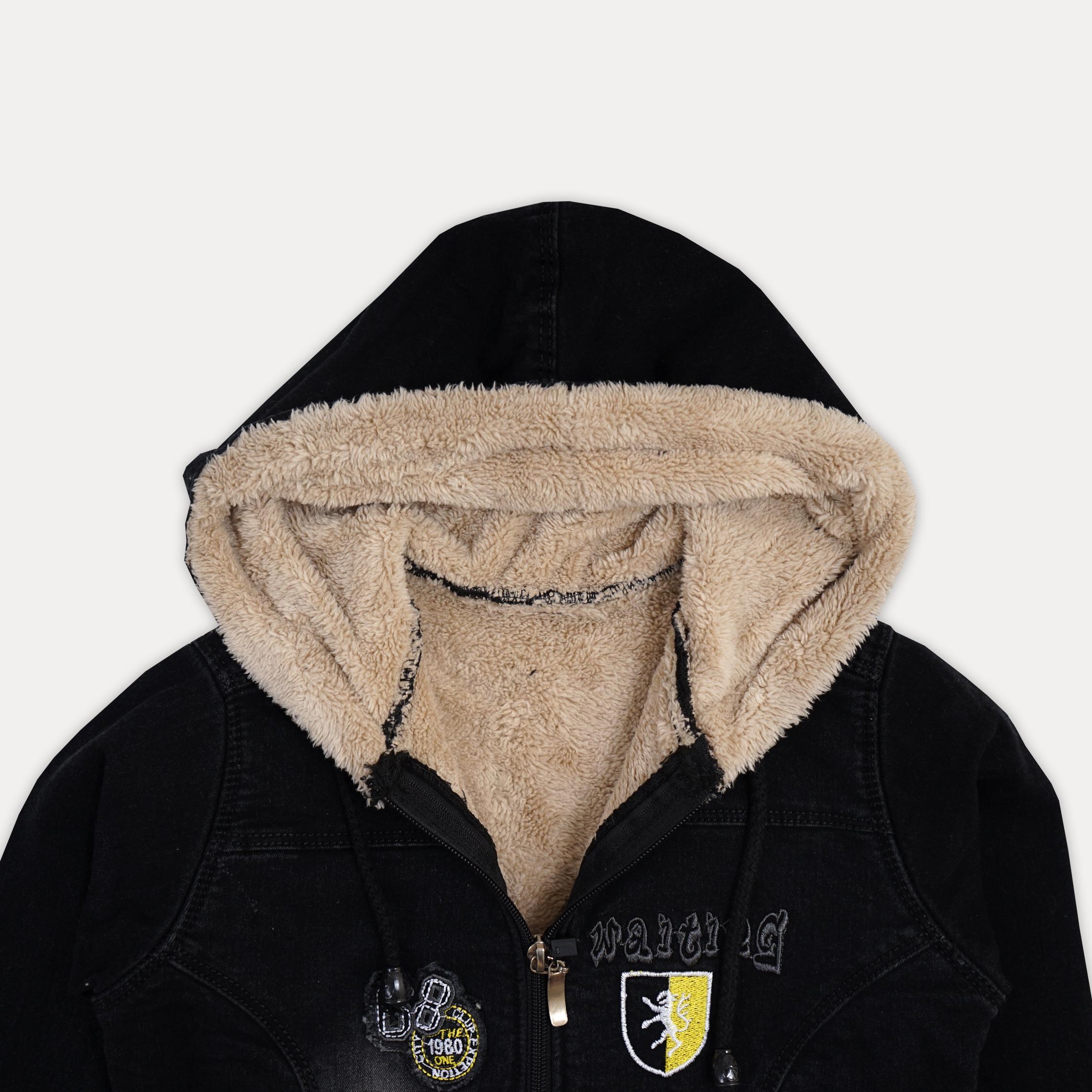 Практичная теплая джинсовая курточка на меху для м ...