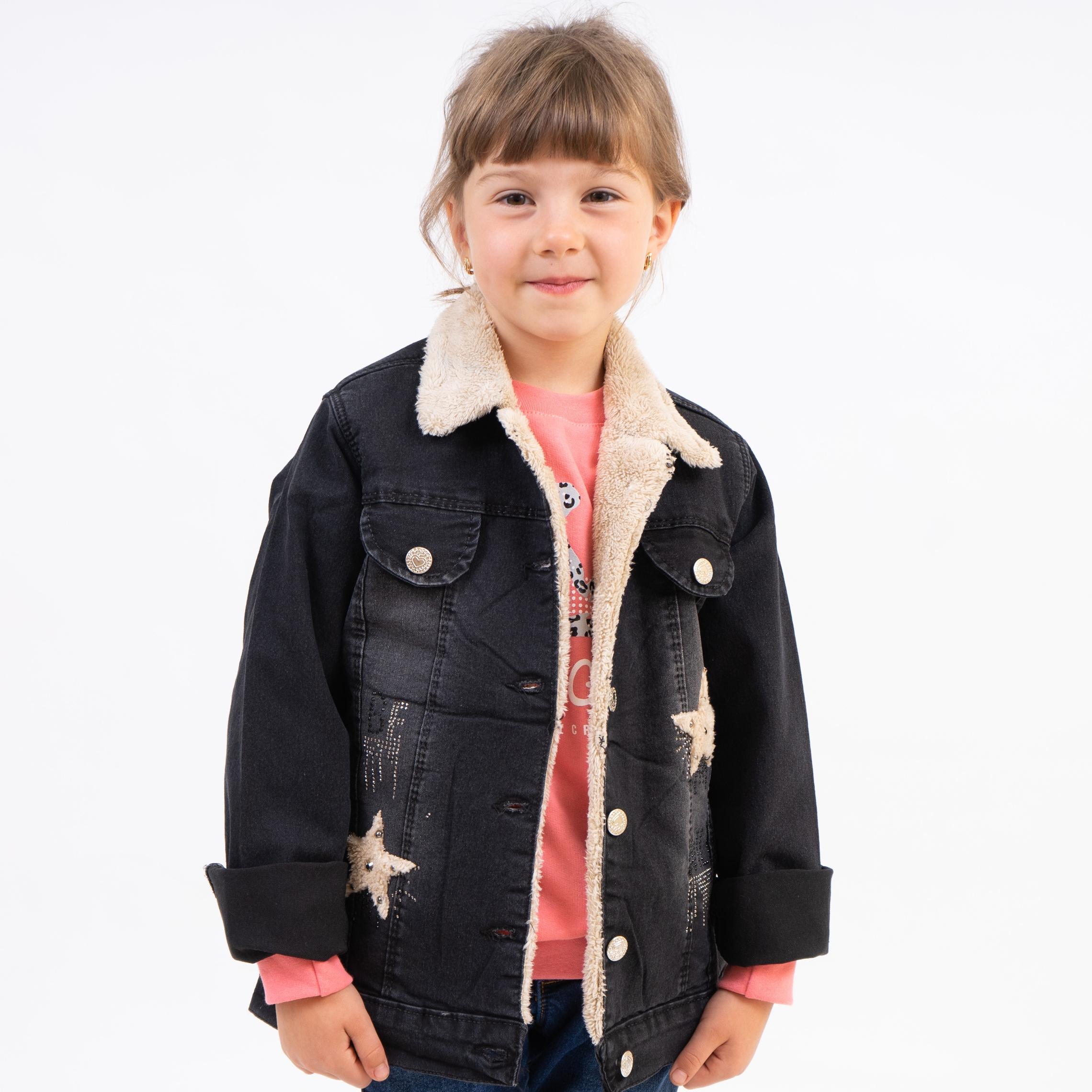 Стильная джинсовая курточка на меху для девочек