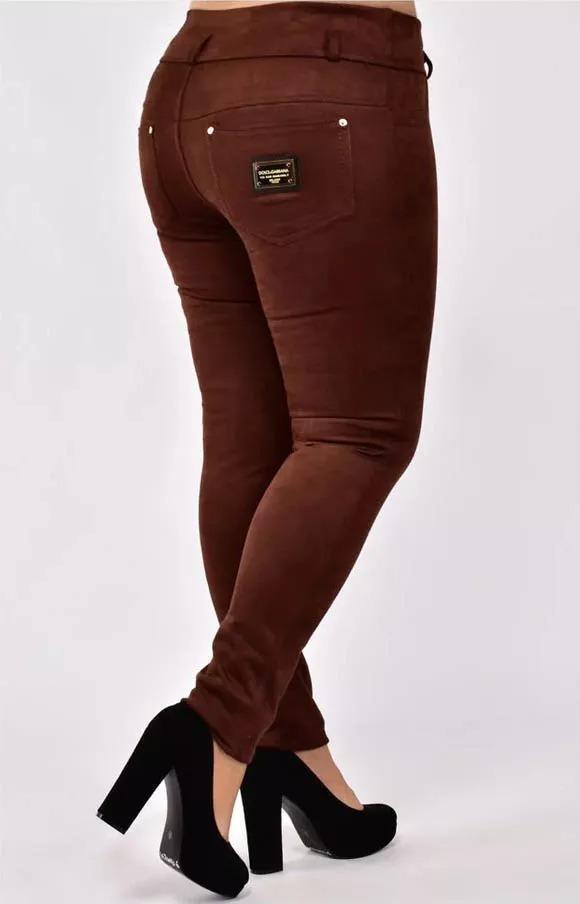 Женские теплые брюки больших размеров из замши, за ...