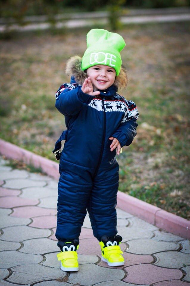 Стильный детский теплый комбинезон на зиму