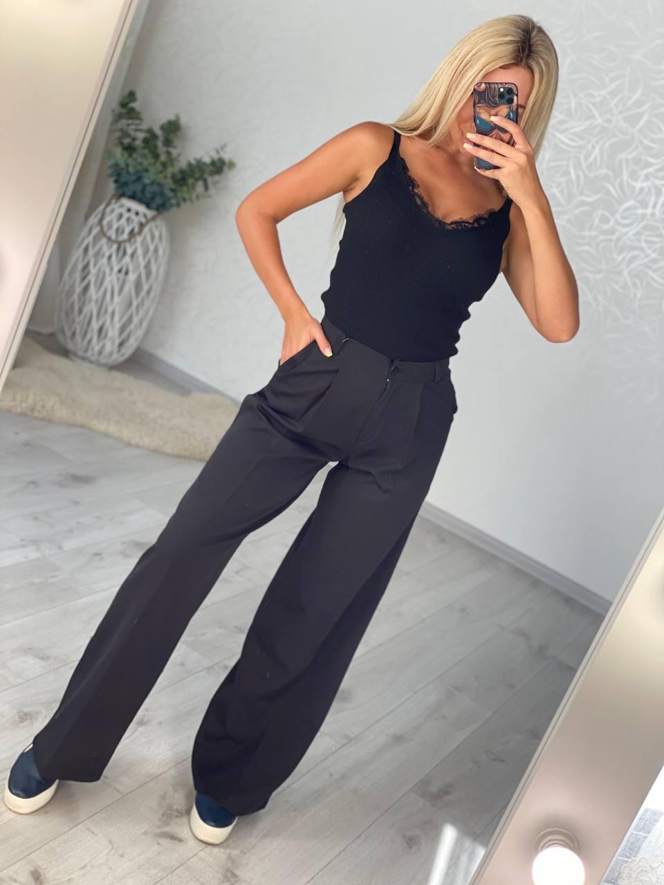 Стильные женские черные брюки  палаццо