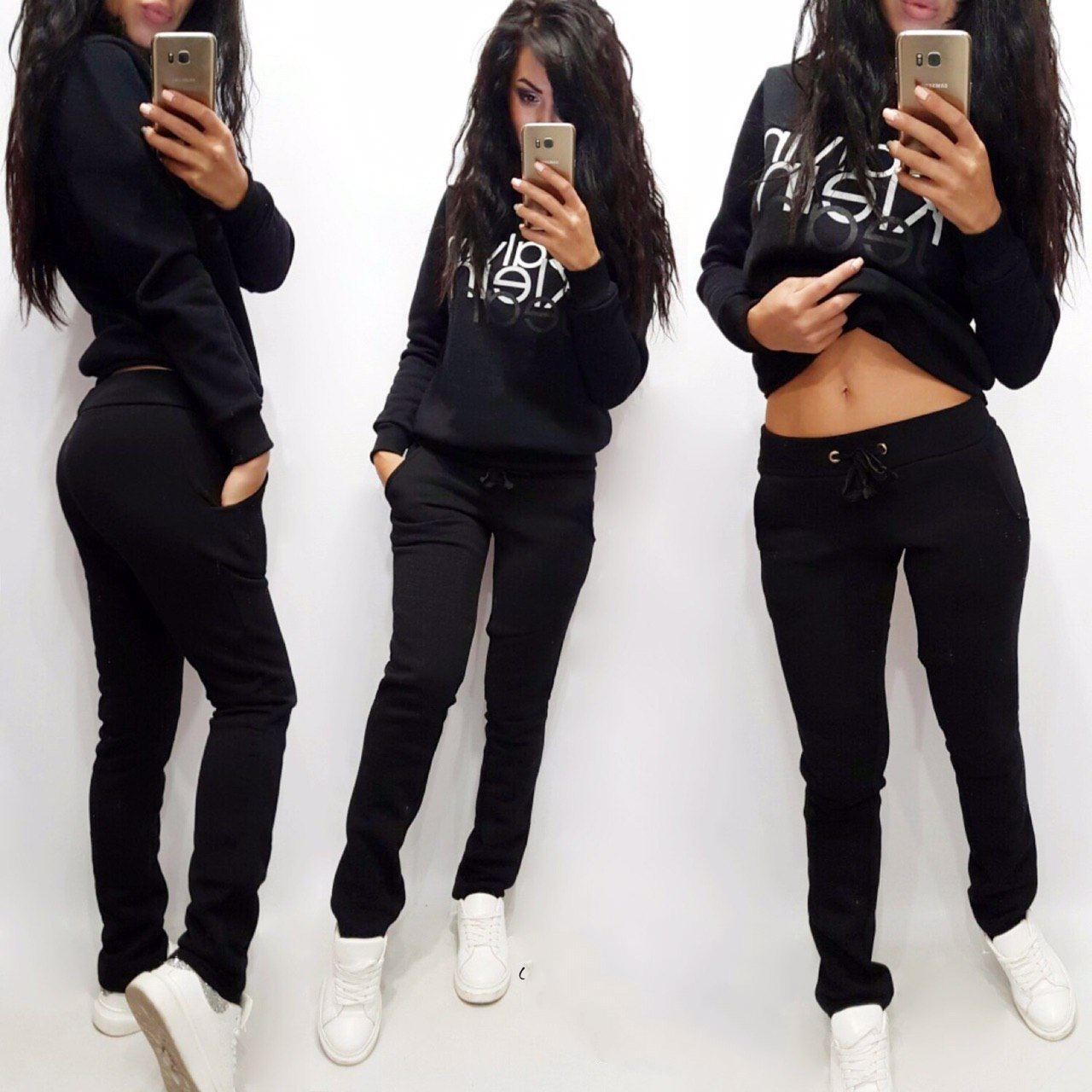 Классические женские теплые спортивные штаны больш ...