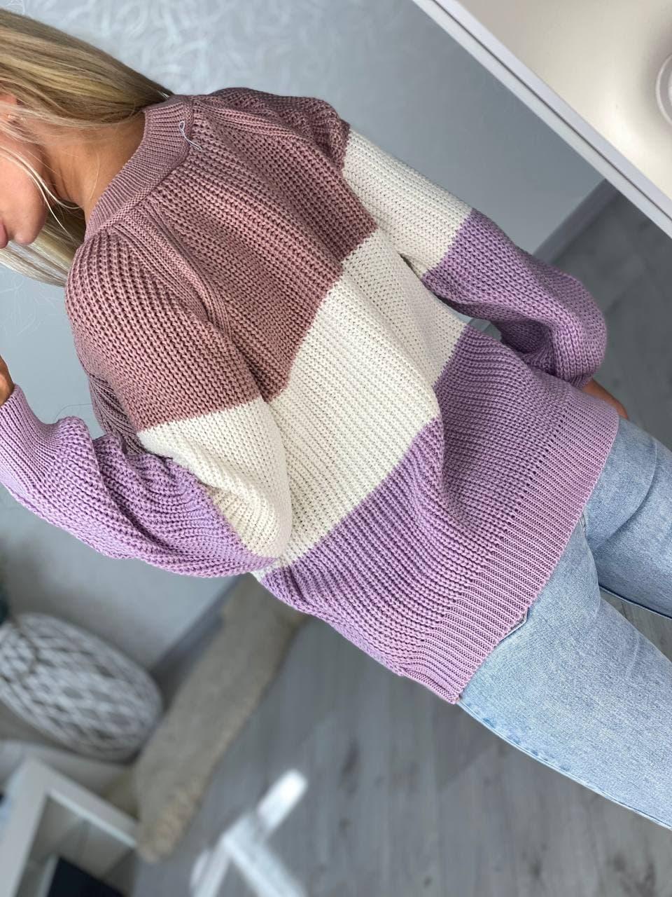 Модный женский трехцветный свитер, Свитер женск ...