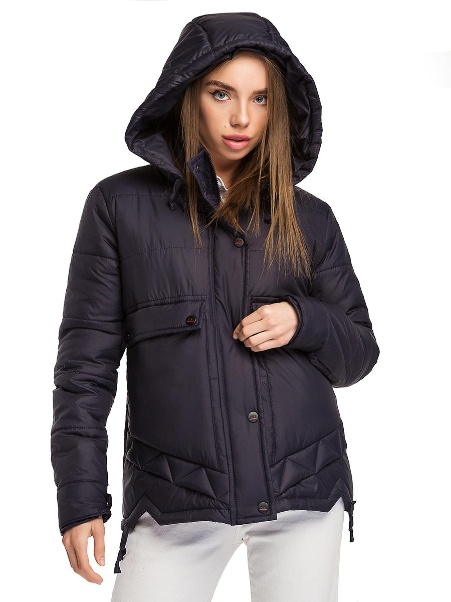 Удлиненная демисезонная женская куртка с капюшоном ...