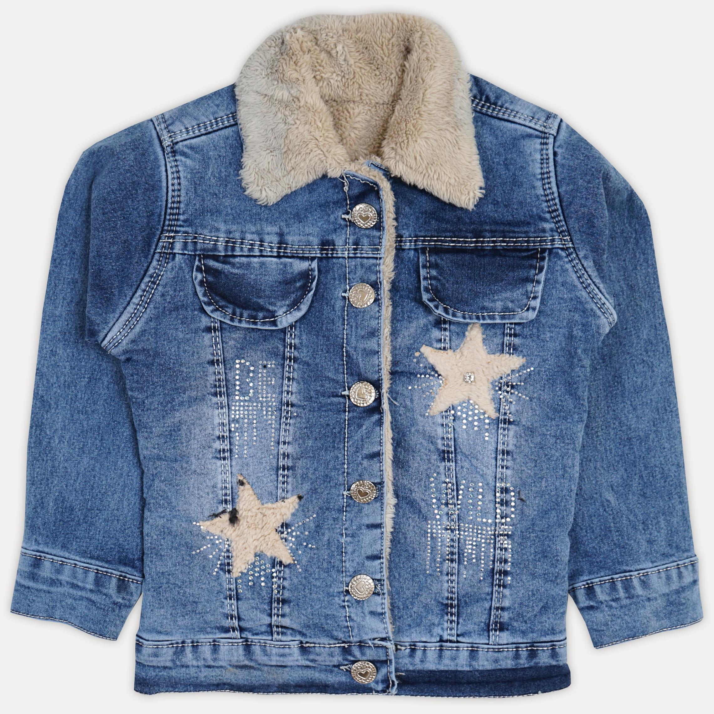 Красивая джинсовая меховая курточка для девочки (б ...