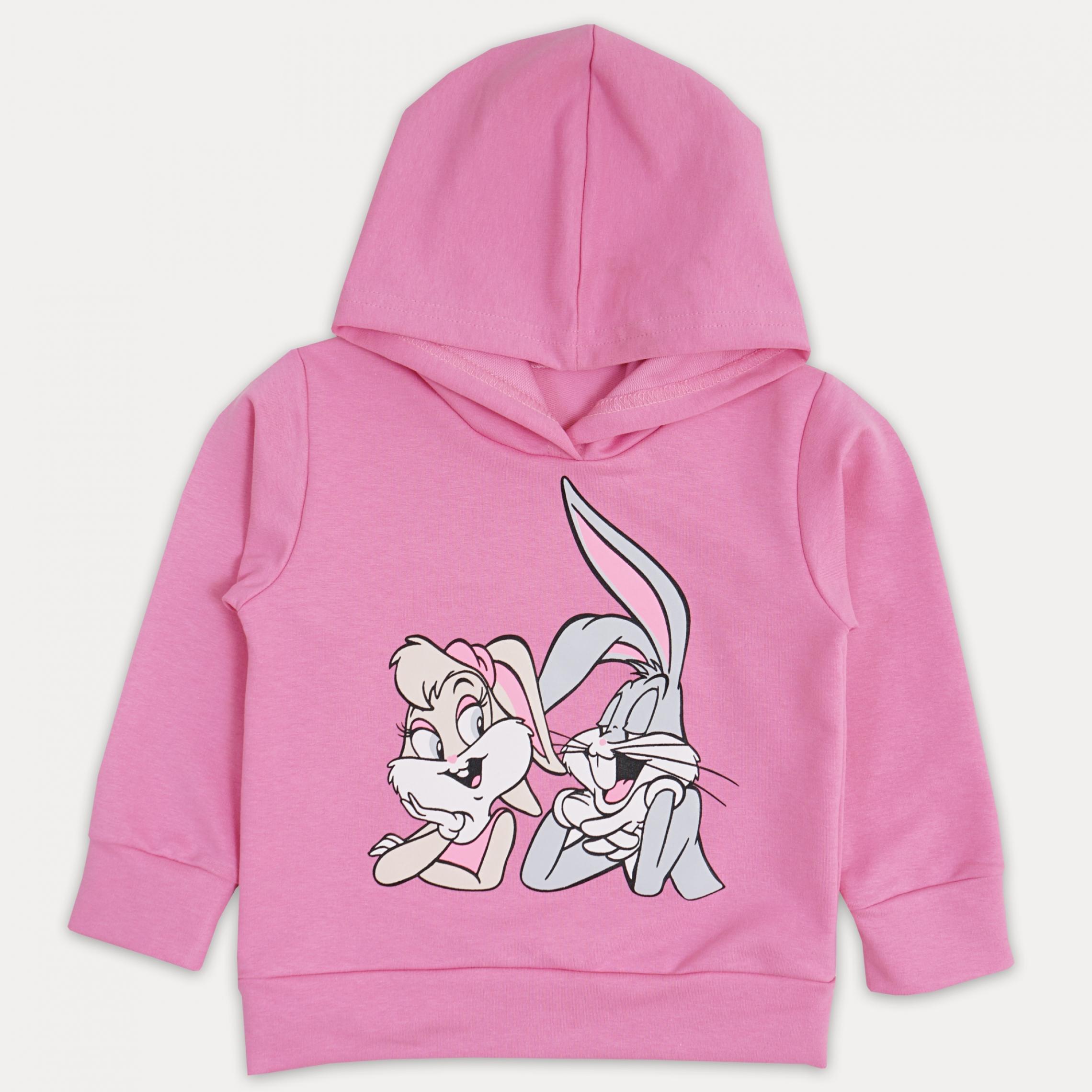 Качественный розовый джемпер для девочки с капюш ...