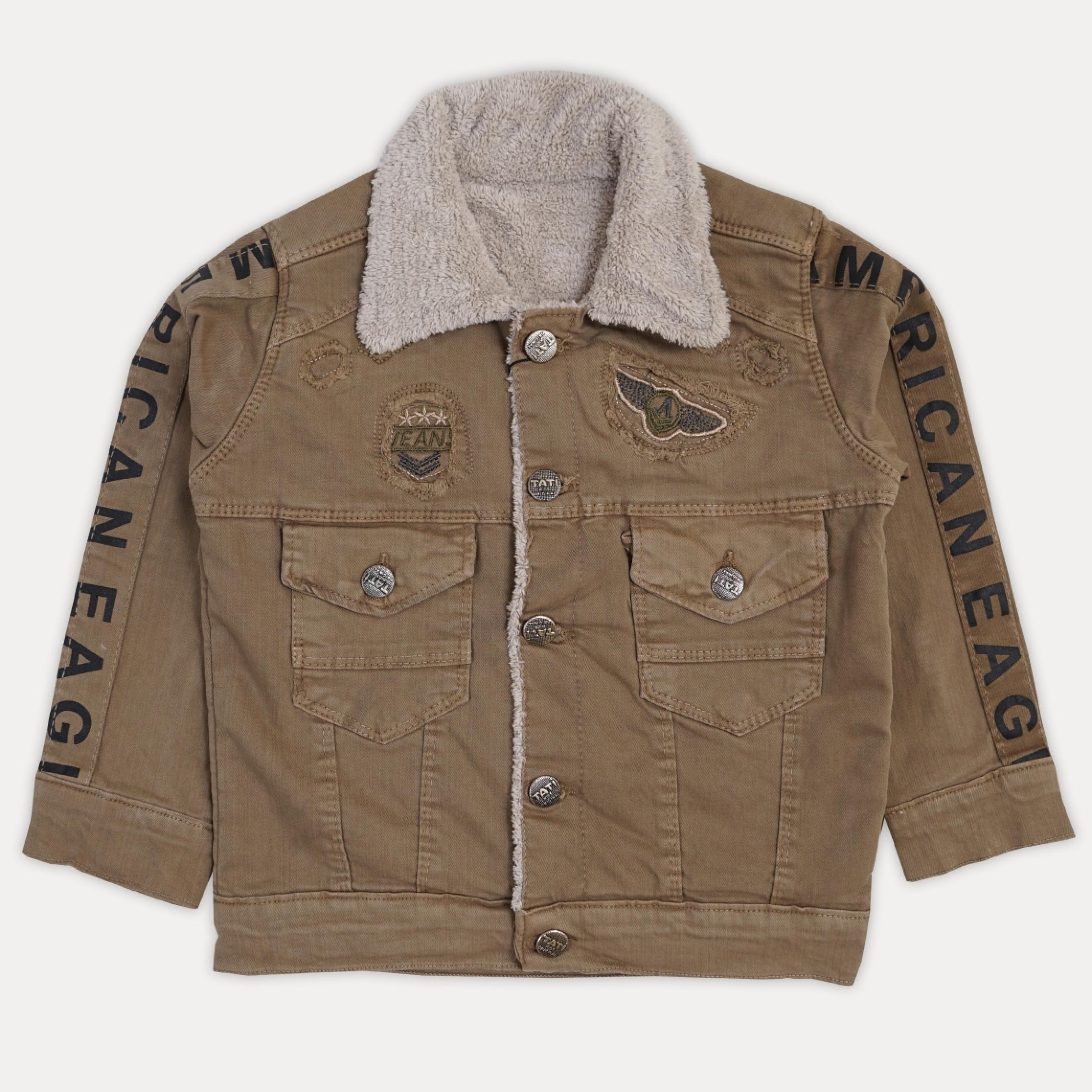 Стильная детская теплая джинсовая курточка на маль ...