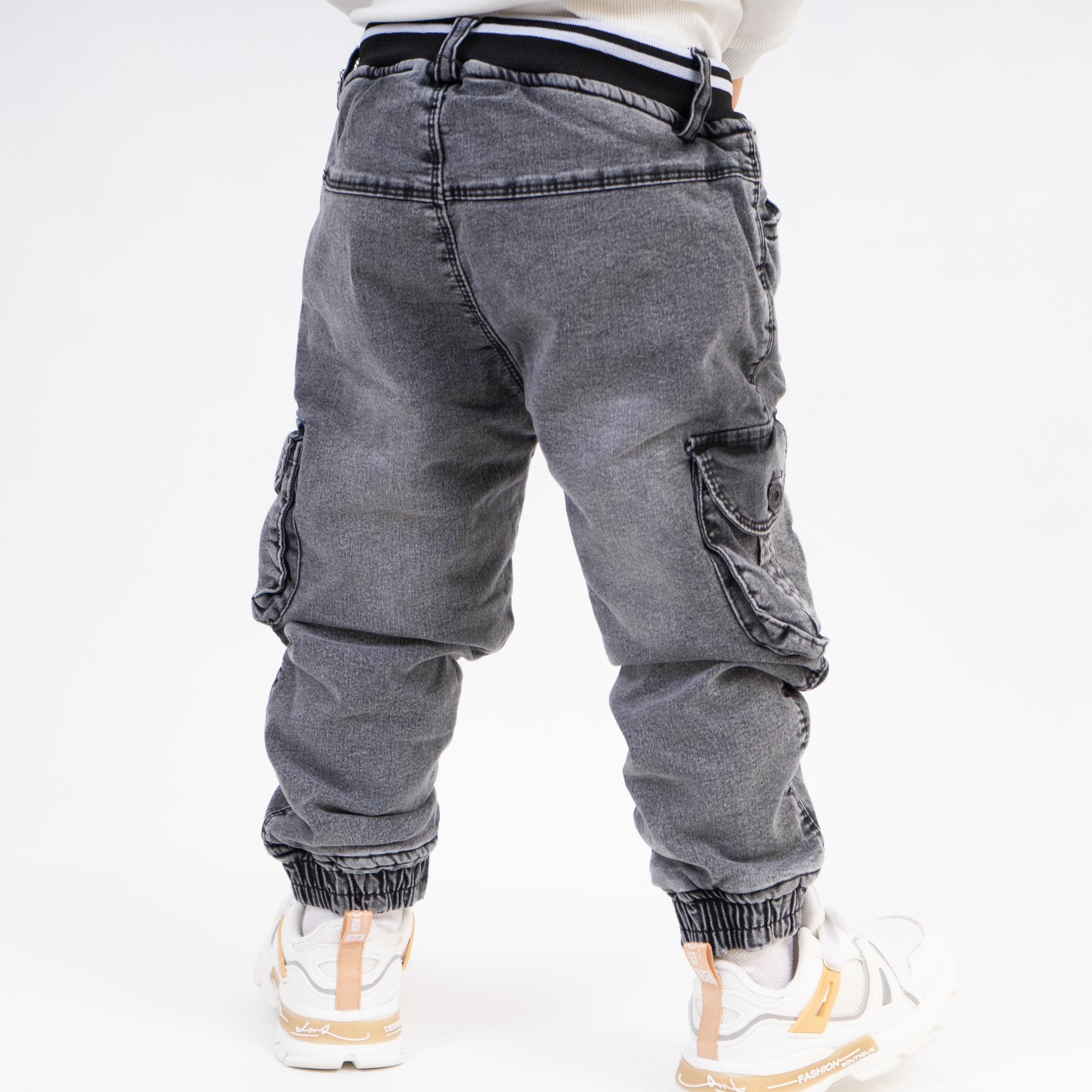 Стильные детские теплые джинсы с накладными карман ...
