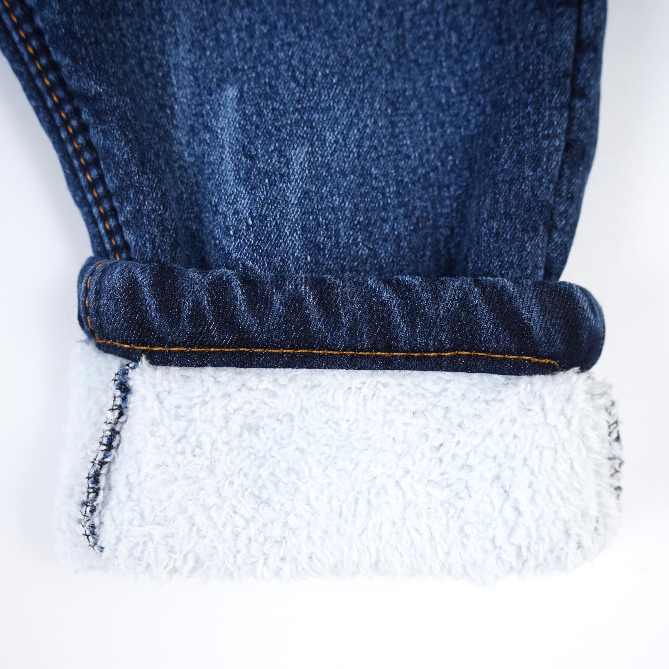 Стильные меховые детские джинсы для мальчика