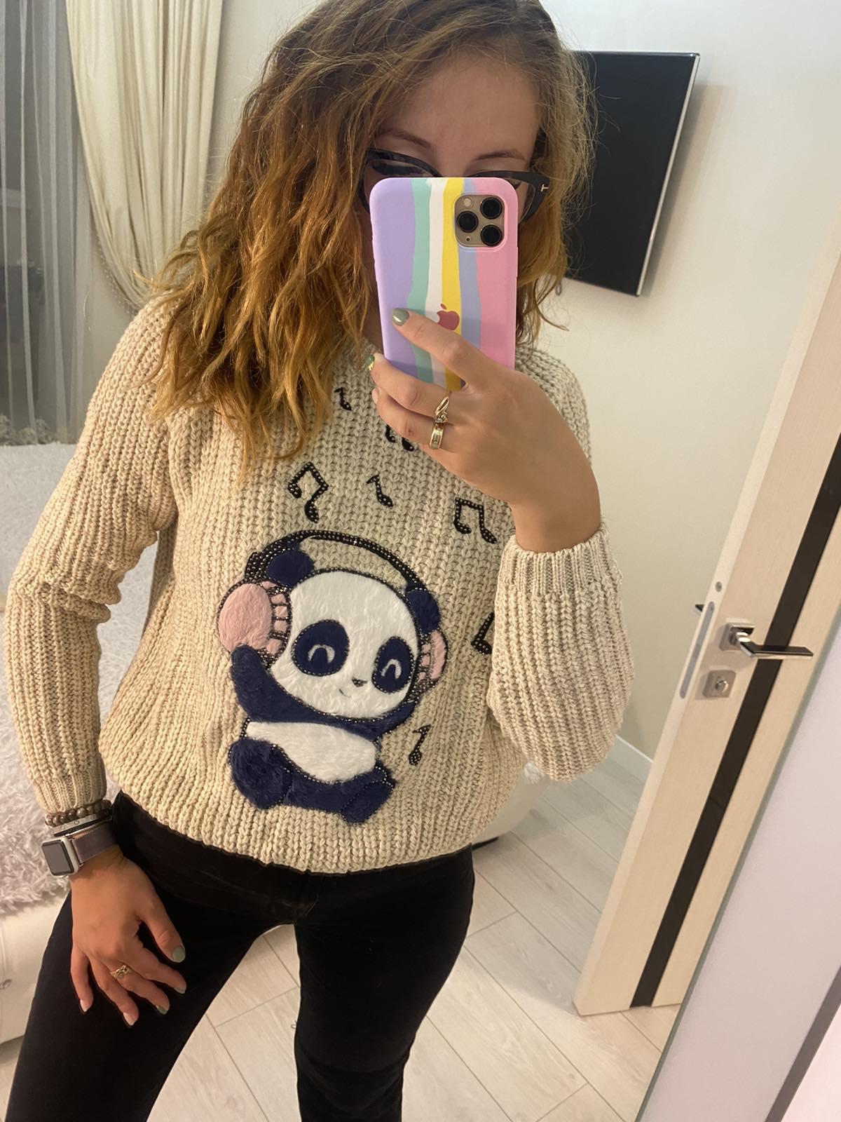 Обалденный теплый вязаный женский свитер