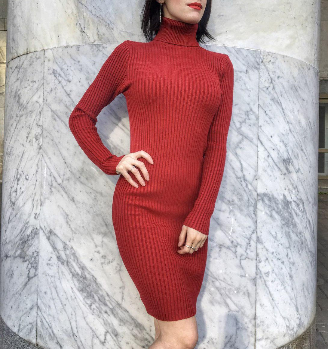 красное платье, платье гольф, теплое платье красное